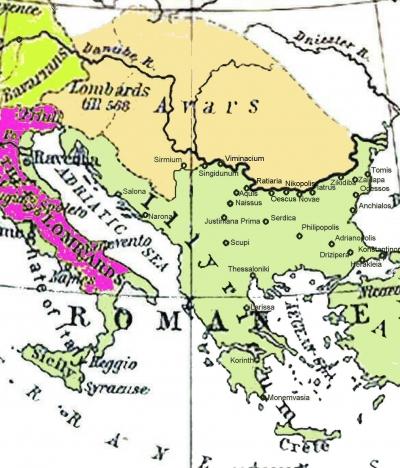 mapa balkana 582-612