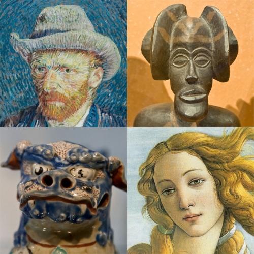 """U smeru kazaljke na satu: Vinsent van Gog - """"Autoportret""""; afrička Čokve skulptura; Sandro Botičeli - """"Rođenje Venere"""" (detalj); japanski šisa lav"""