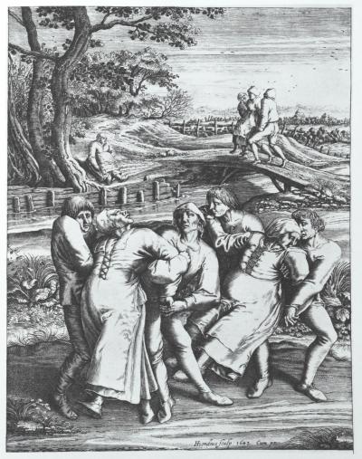 """Pilgrimage of the Epileptics to the Church at Molenbeek"" (gravura iz 1642. Hendrika Hondiusa Starijeg prema crtežu Pitera Brojgela Starijeg iz 1564. godine)"