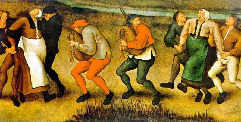 """""""The dance at Molenbeek"""" (slika Pitera Brojgela Mlađeg prema crtežu svog oca iz 1564. godine)"""